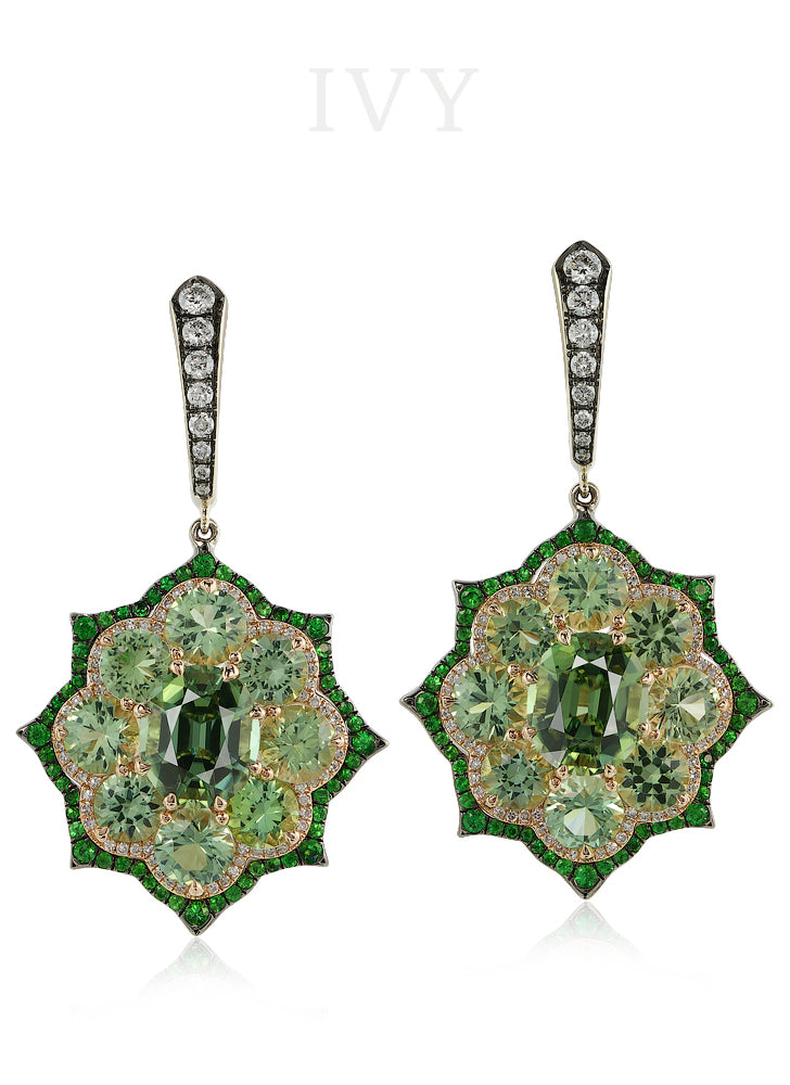 Tourmaline and Diamond Euryalina Earrings