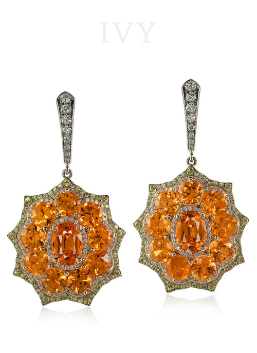 Mandarin Garnet and Diamond Euryalina Earrings