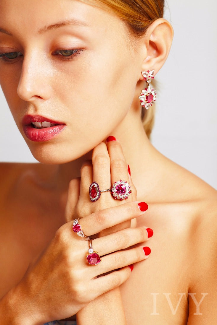Red Spinel, Ruby and Diamond Ring