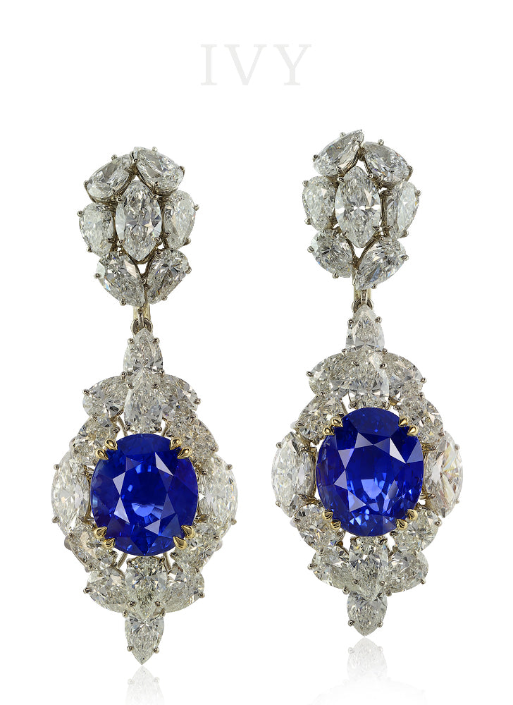 La Boheme Blue Sapphire and Diamond Earrings