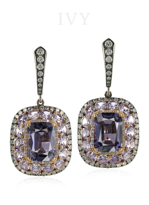 Spinel and Diamond Valencia Earrings