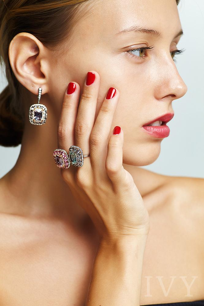 Pink Spinel and Diamond Valencia Ring