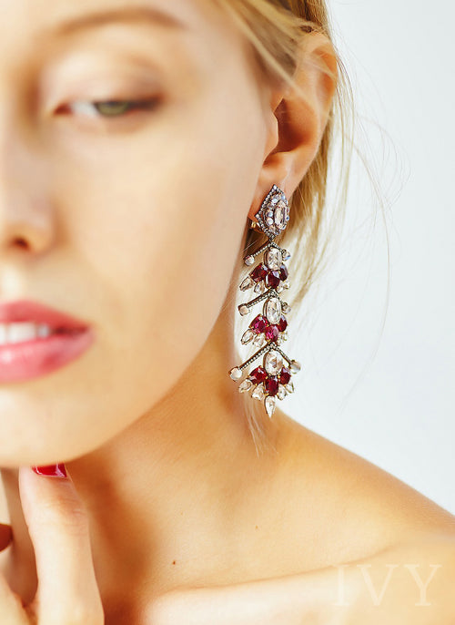 Cascada Earrings with Ruby and Moonstone