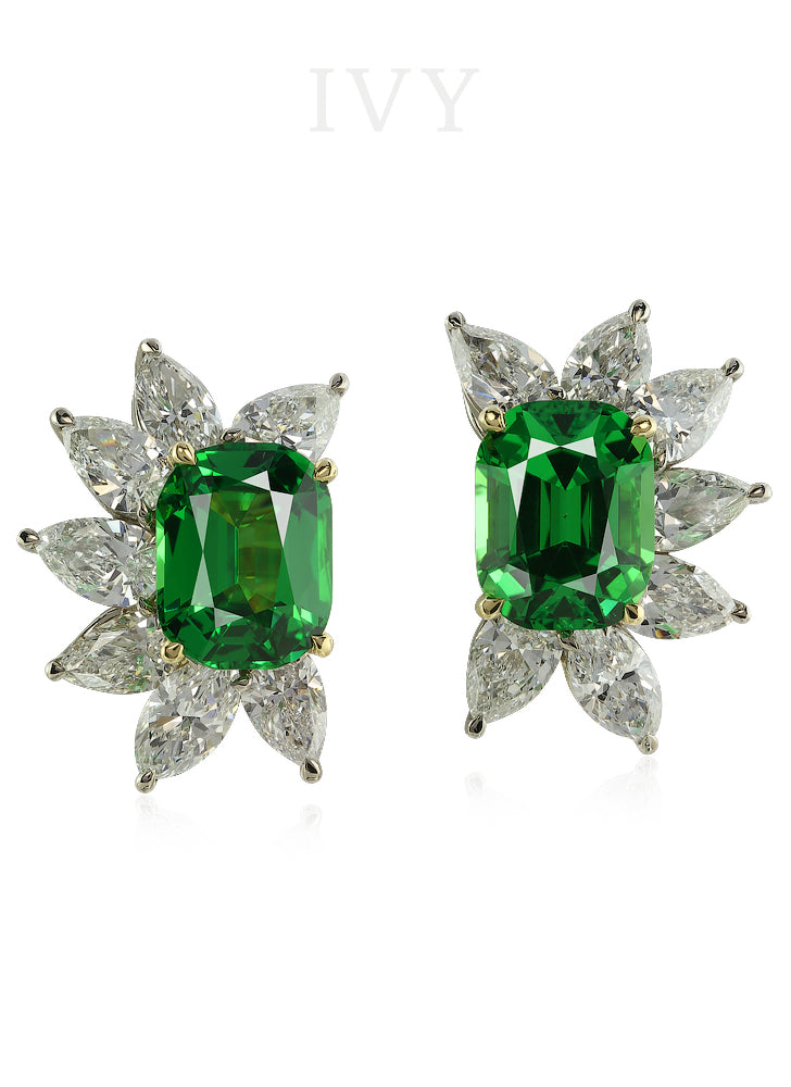 Tsavoite and Diamond Half Moon Earrings