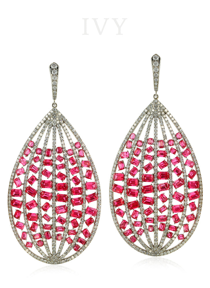 Red Spinel and Diamond Stitched Earrings
