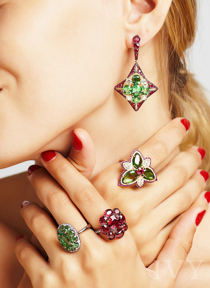 Tsavorite, Ruby and Diamond Trinity Knot Ring