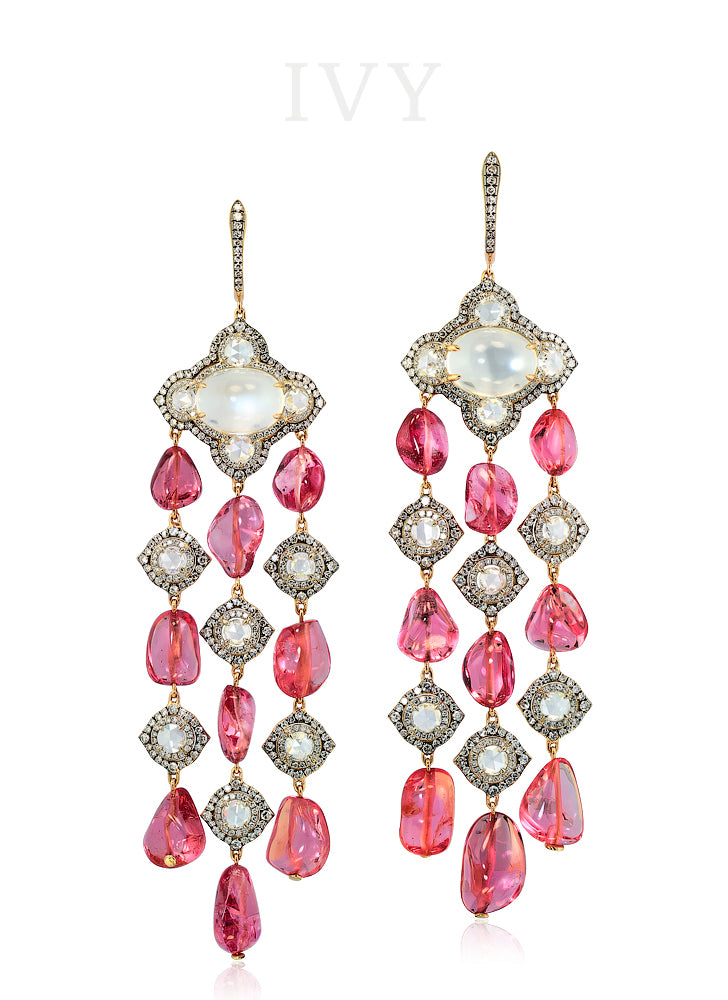 Pink Spinel Wind Chime Earrings