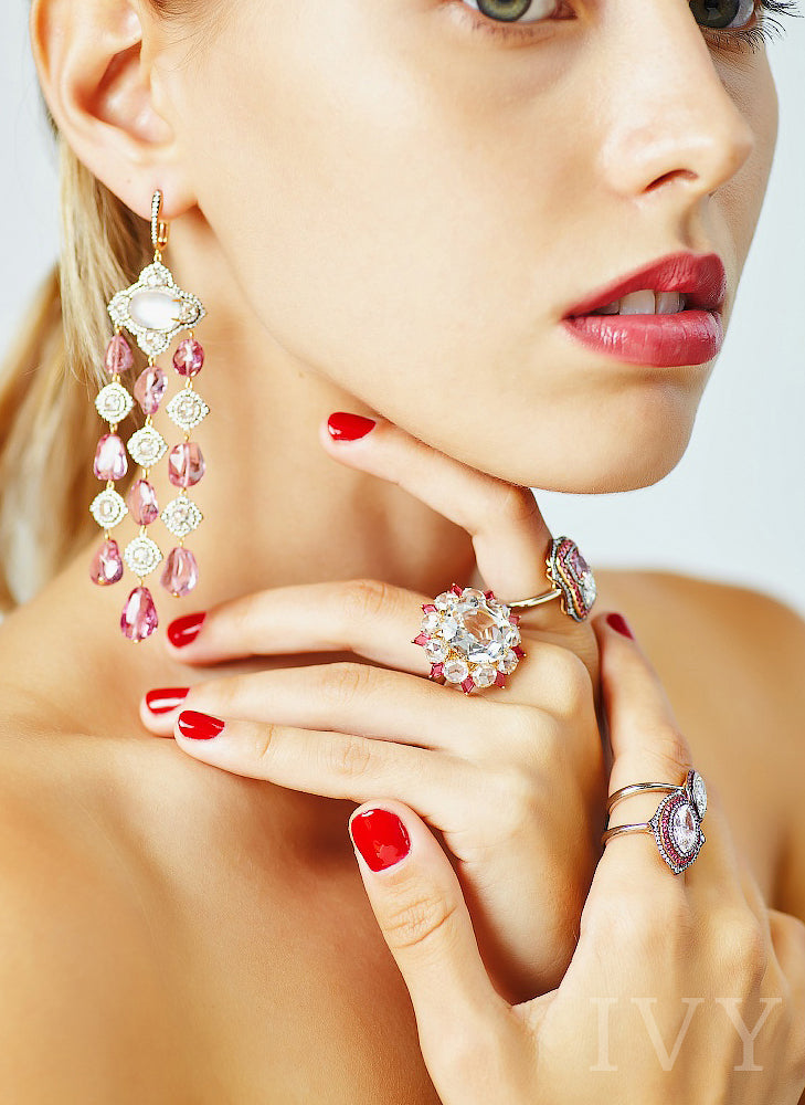 The Topaz in Bloom Ring with Red Spinel and Mandarin