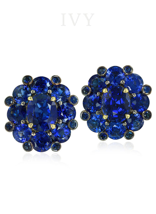 Blue Sapphire Crown Earrings