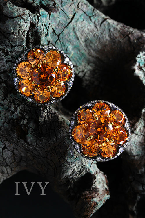 Mandarin Garnet and Diamond Disco Earrings