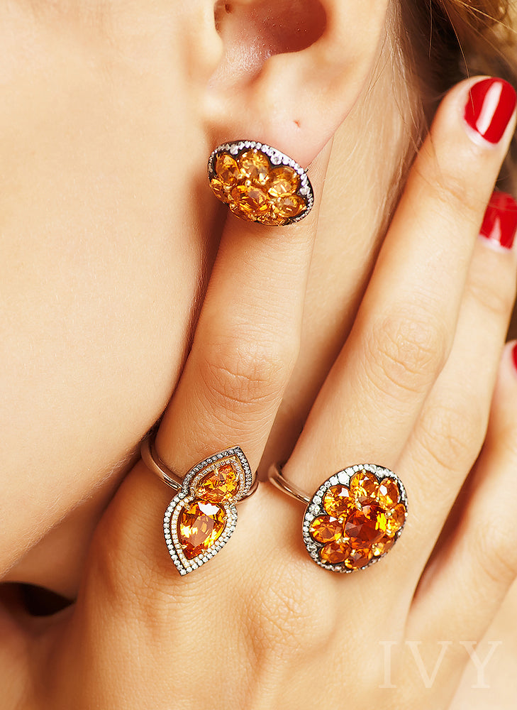 Mandarin Garnet and Diamond Disco Ring