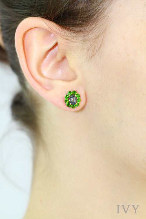 Flowerhead Earrings with Spinel and Diopside