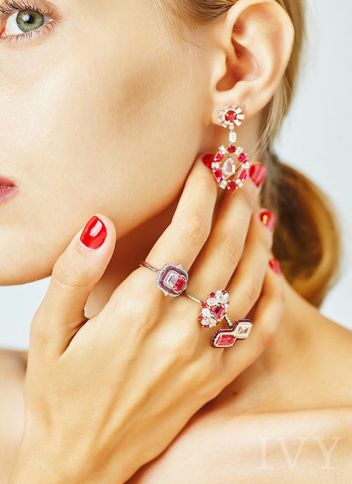 Red Spinel and Diamond Radiant Earrings