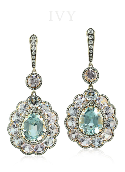 Aquamarine and Diamond Snowflake Earrings