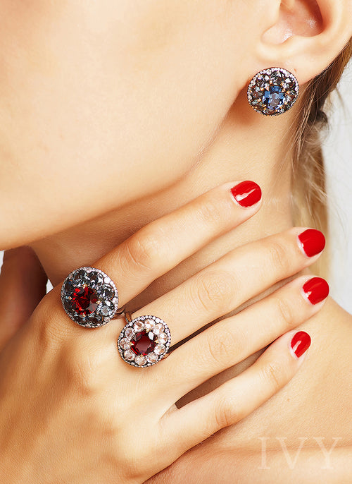 Spinel and Diamond Disco Ring