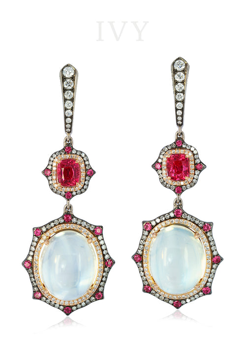 Moonstone, Red Spinel and Diamond Earrings