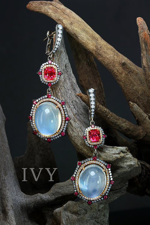 Moonstone and red spinel earrings