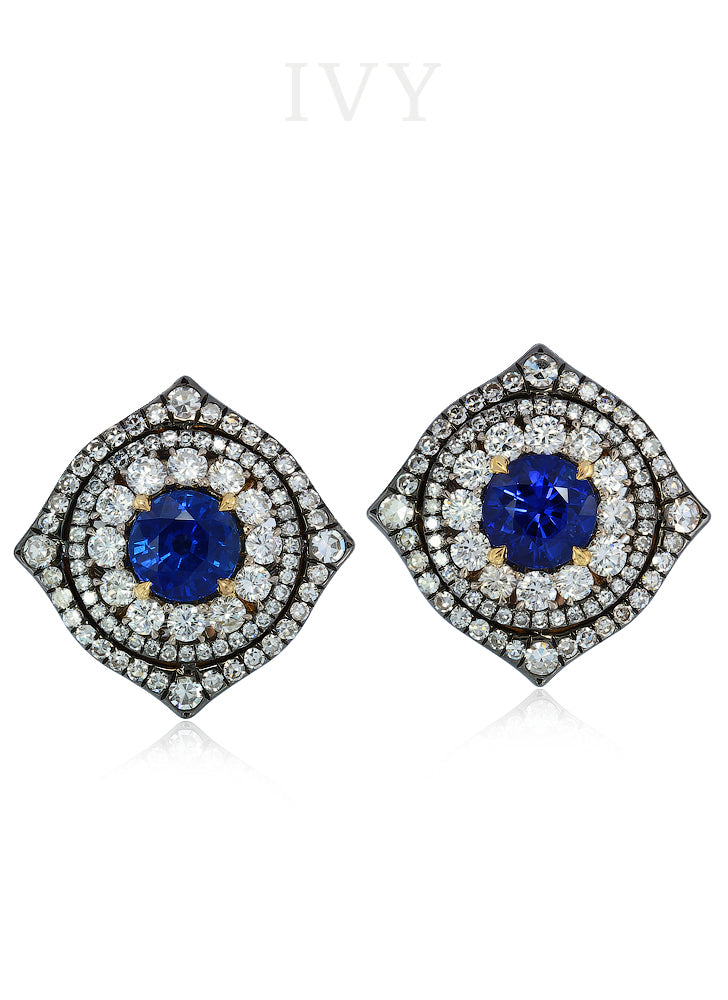Blue Sapphire and Diamond Earclips