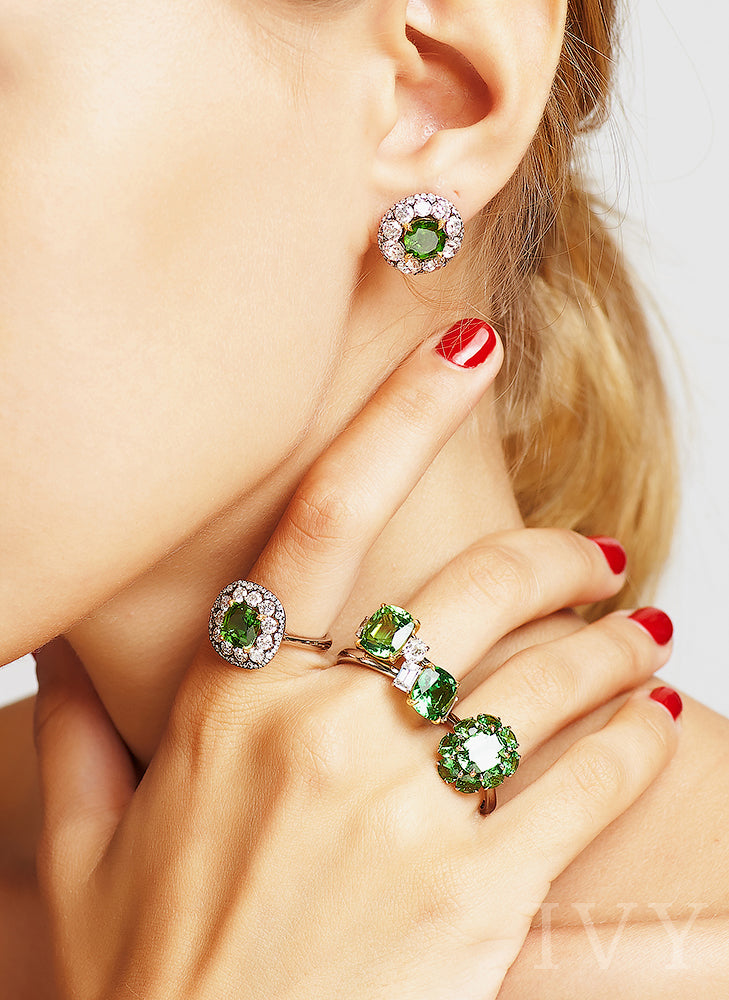 Chrome Tourmaline Ring and Earrings