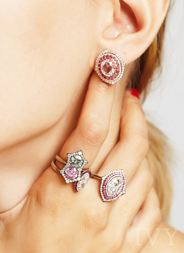 Diamond and Pink Spinel Earrings