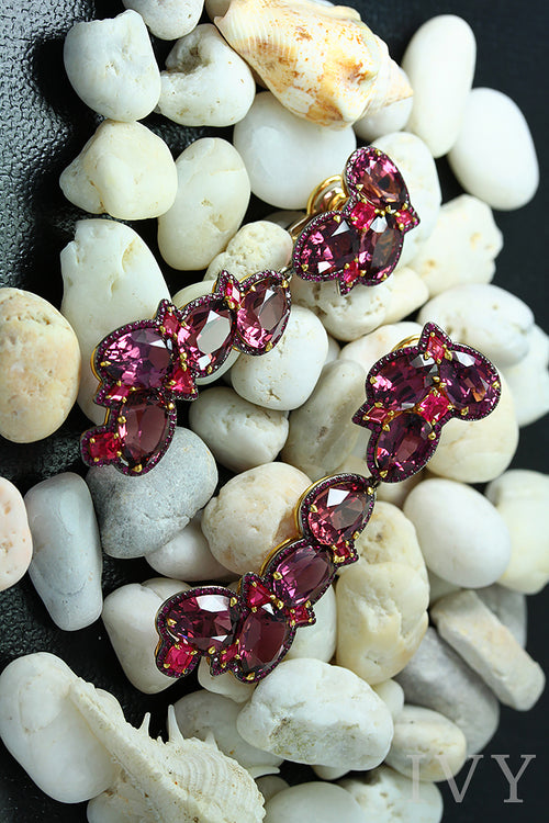 Rhodolite, Red Spinel and Ruby Earrings