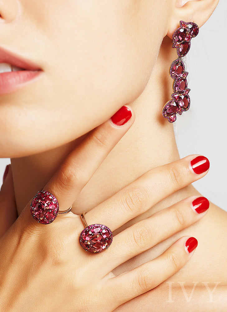 Red Spinel and Ruby Disco Ring