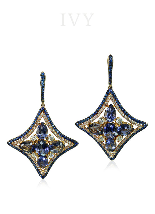 Iolite, Blue Sapphire and Diamond Windrose Earrings