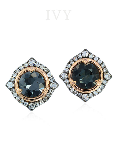 Grey Spinel and Diamond Earrings