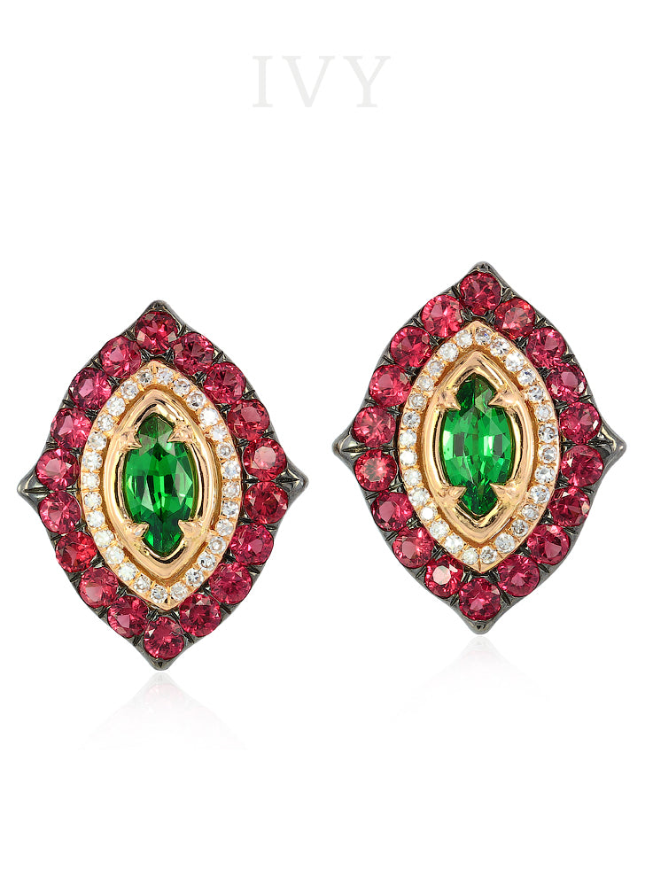 La Marchesa Earrings with Tsavorites and Red Spinel