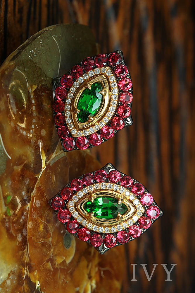 Earrings with Tsavorites and Red Spinel