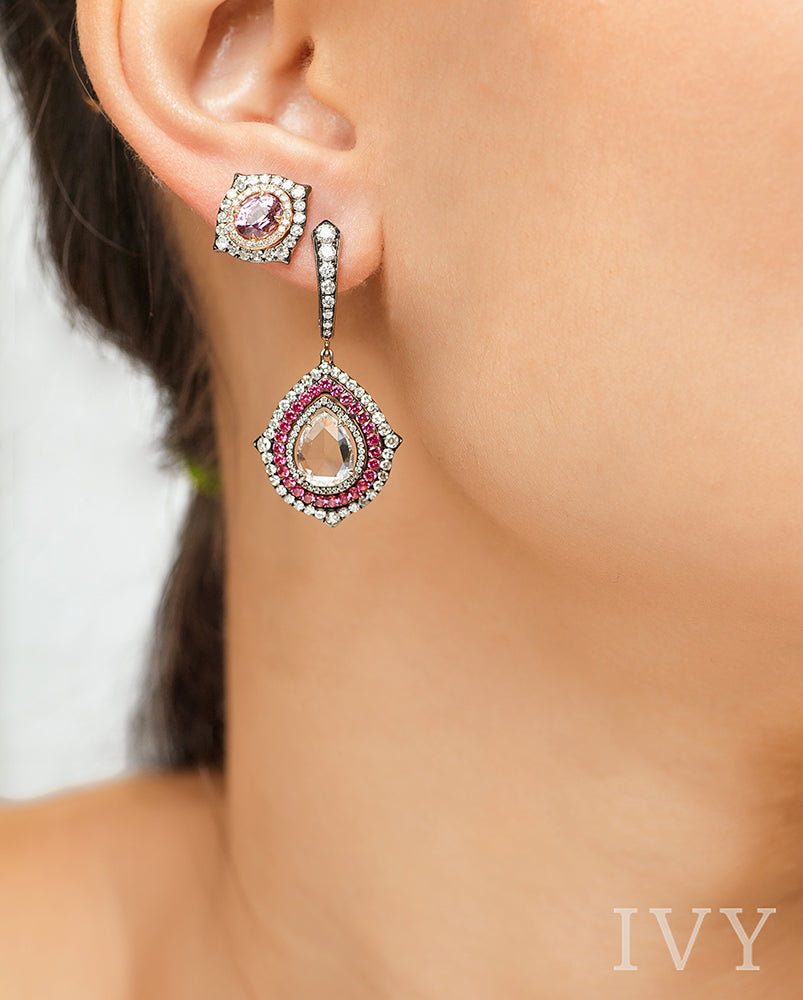 Pink Spinel and Diamond Earrings