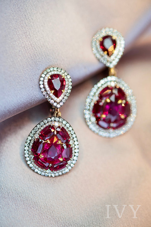 Ruby and Diamond Double Droplet Earrings