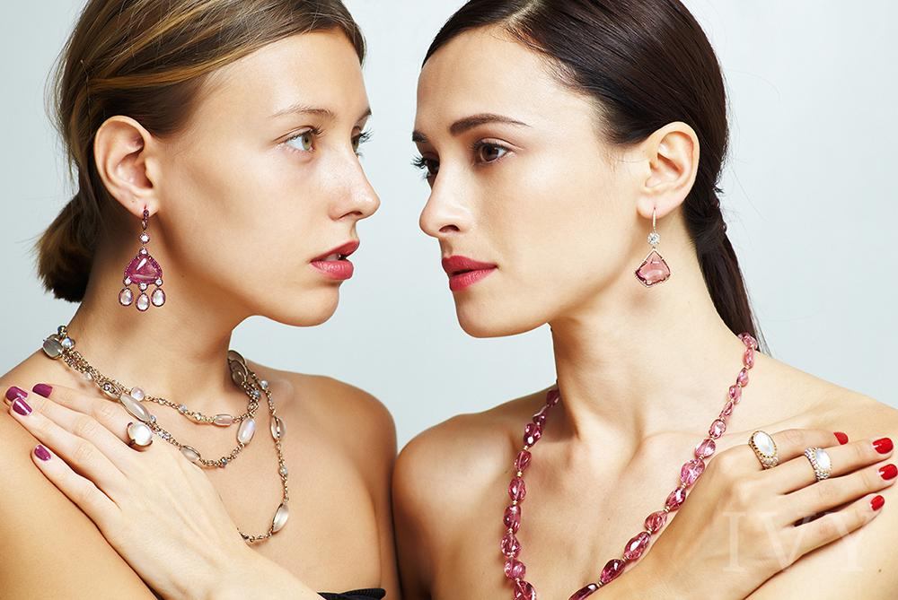 Pink Spinel Crystal Maharani Earrings