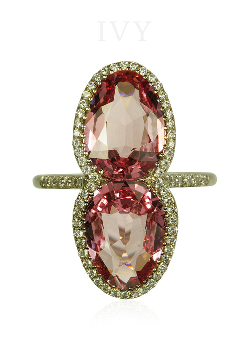 Pink Spinel and Diamond Gemini Ring