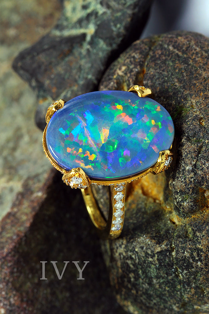 blue fire opal ring