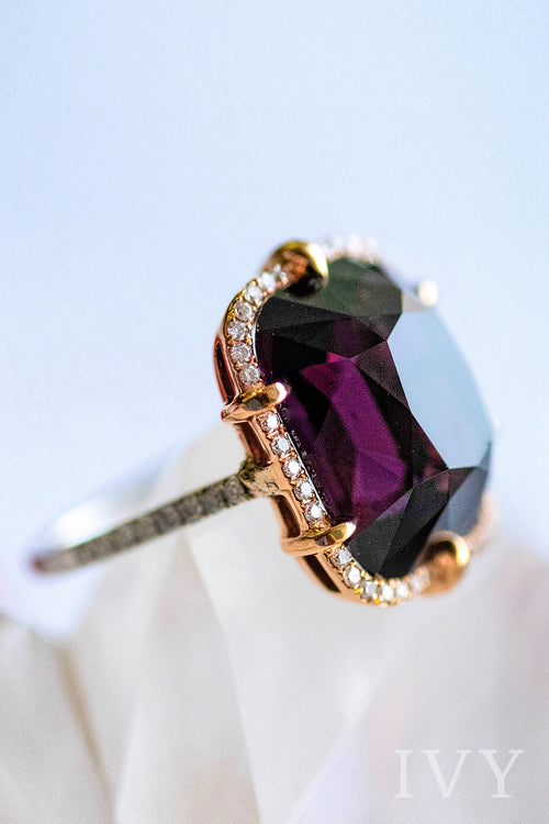 Violet Spinel and Diamond Ring