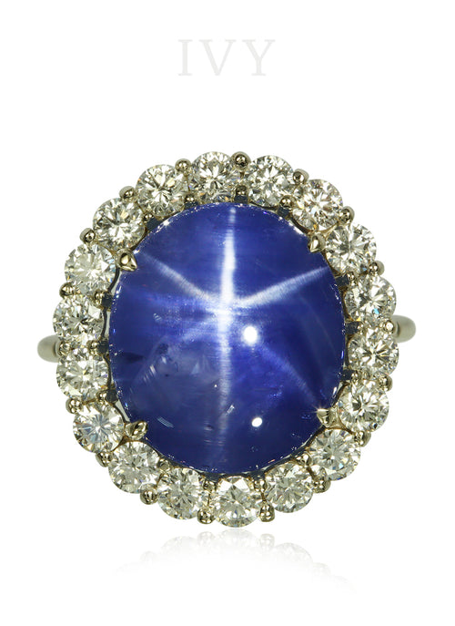 Star Blue Sapphire and Diamond Ring