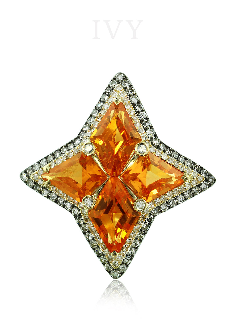 Mandarin Garnet and Diamond Windrose Ring