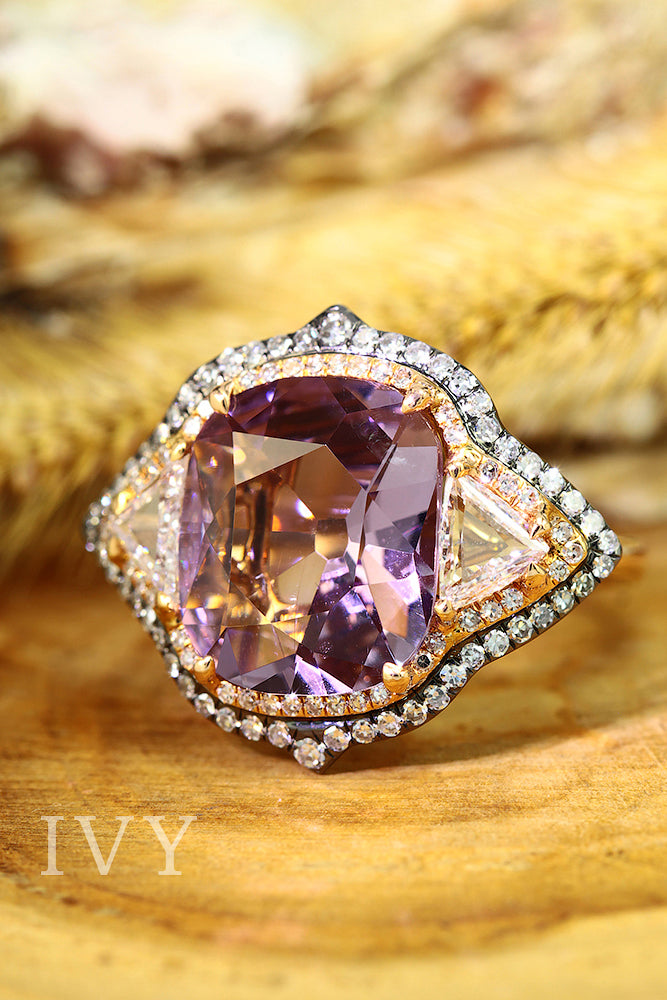 Lavender Spinel and Diamond Ring