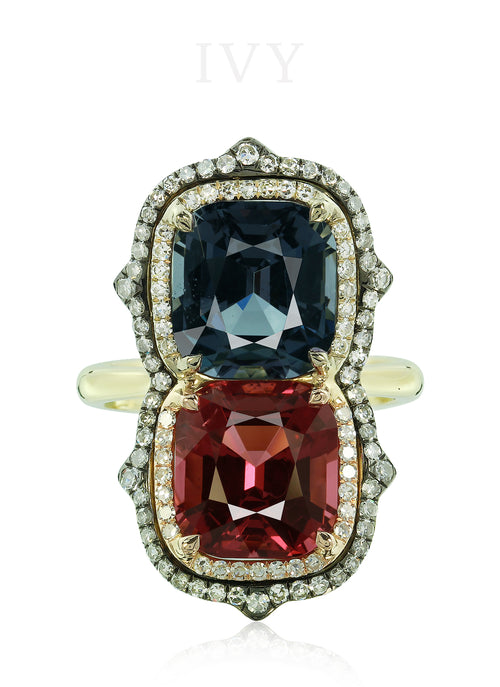 Gemini Ring with Spinels and Diamonds
