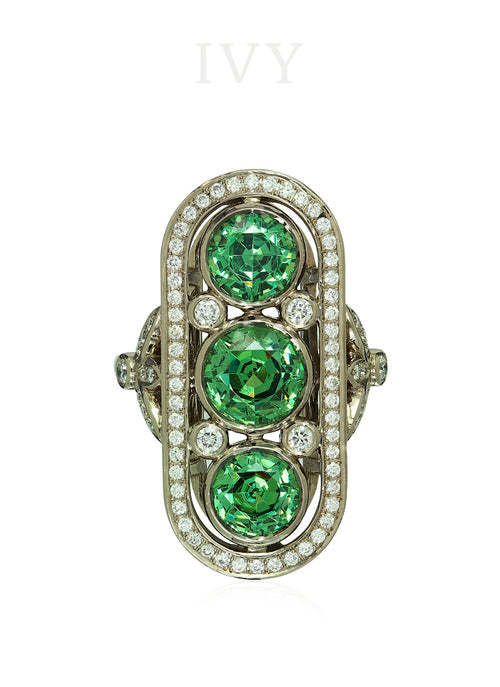 Demantoid and Diamond Ring
