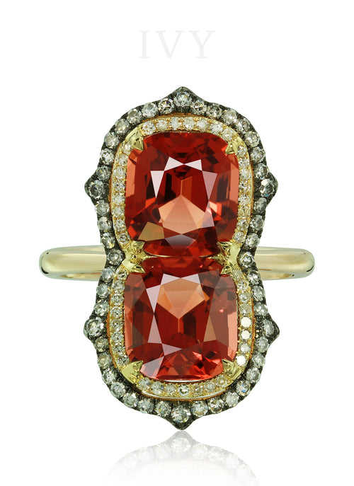 Spinel and Diamond Gemini Ring