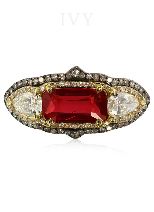 Vivid Red Ruby and Diamond Gondola Ring