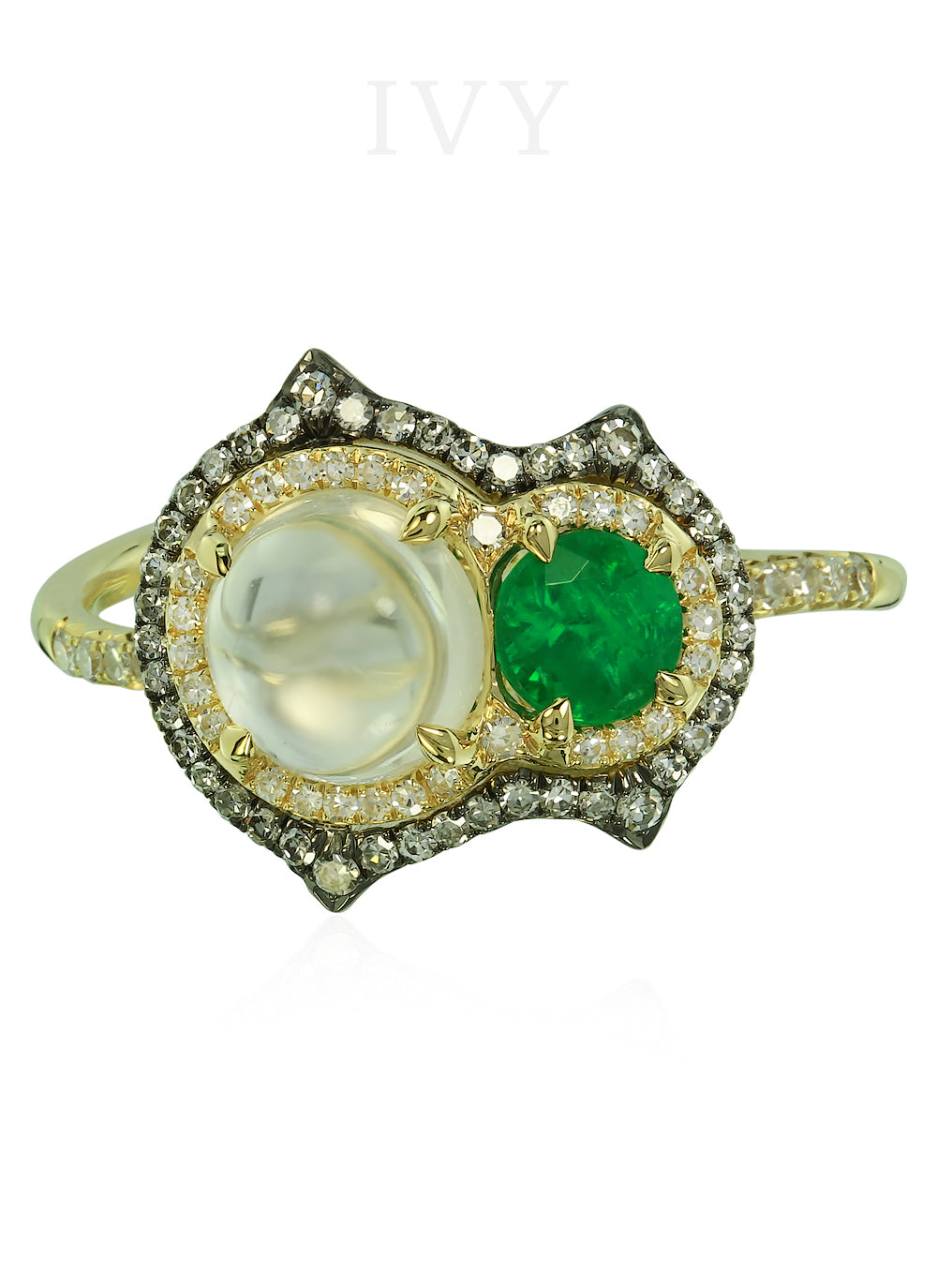 Emerald and Moonstone Pupa Ring