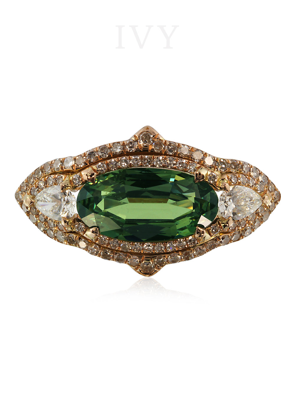 Demantoid and Diamond Gondola Ring