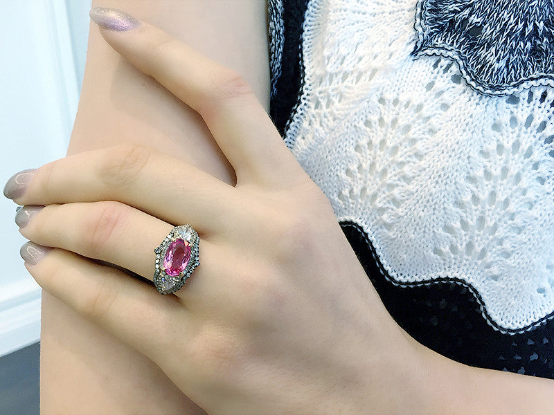 Neon Pink Spinel and Diamond Gondola Ring