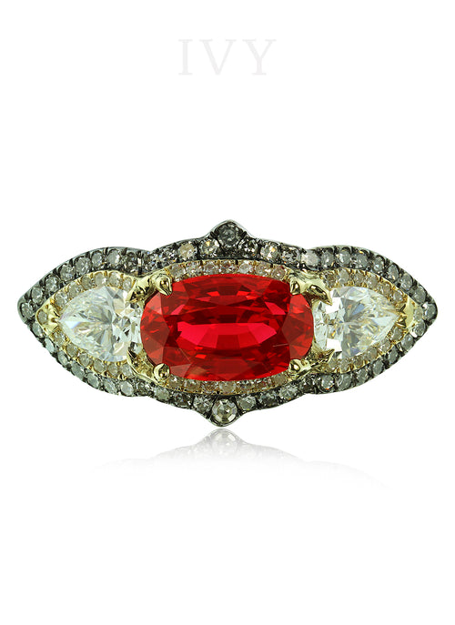 Vivid Red Spinel and Diamond Gondola Ring