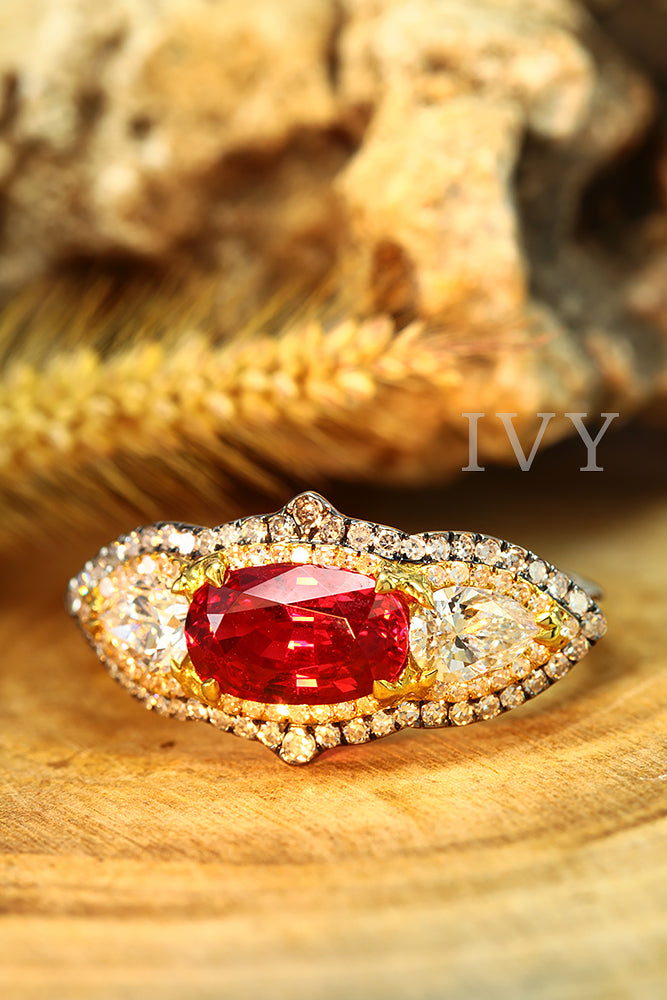 Vivid Red Spinel and Diamond Ring