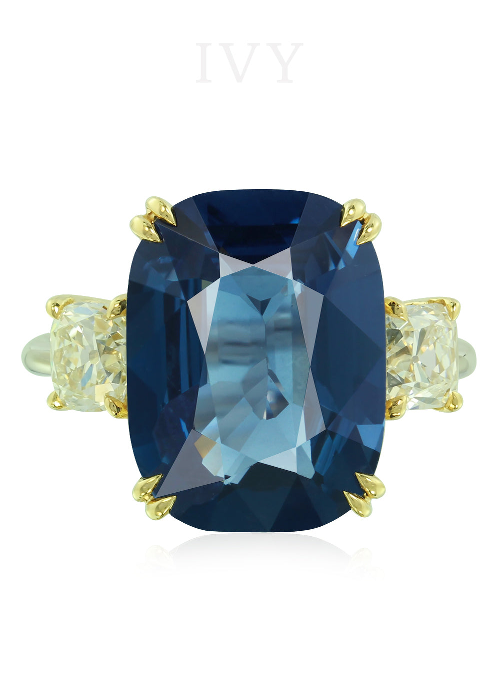 Blue Spinel and Diamond Ring
