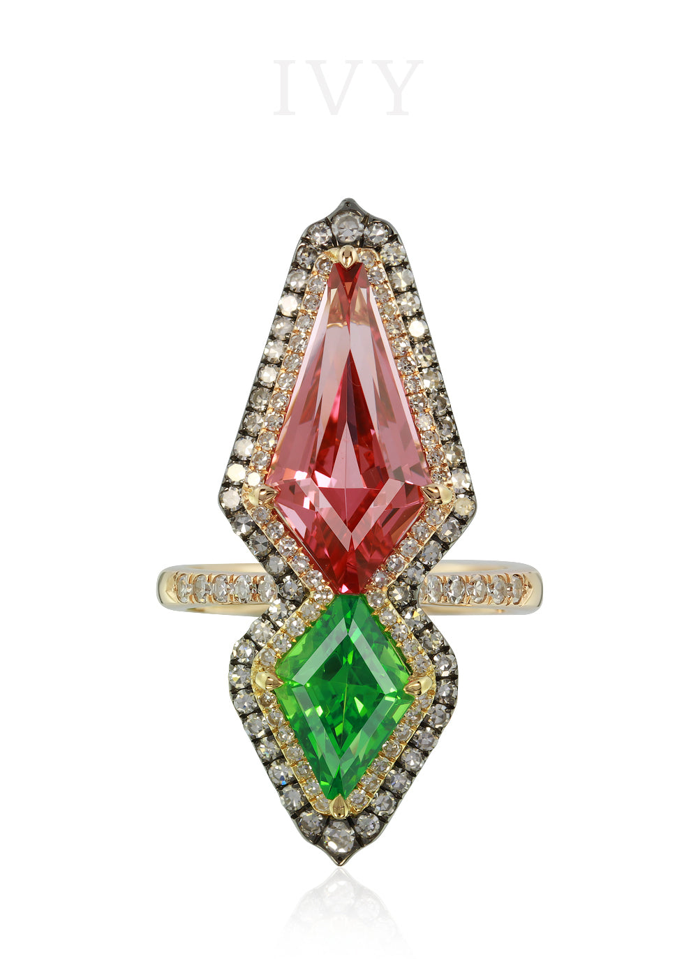 Spinel, Tsavorite and Diamond Ring